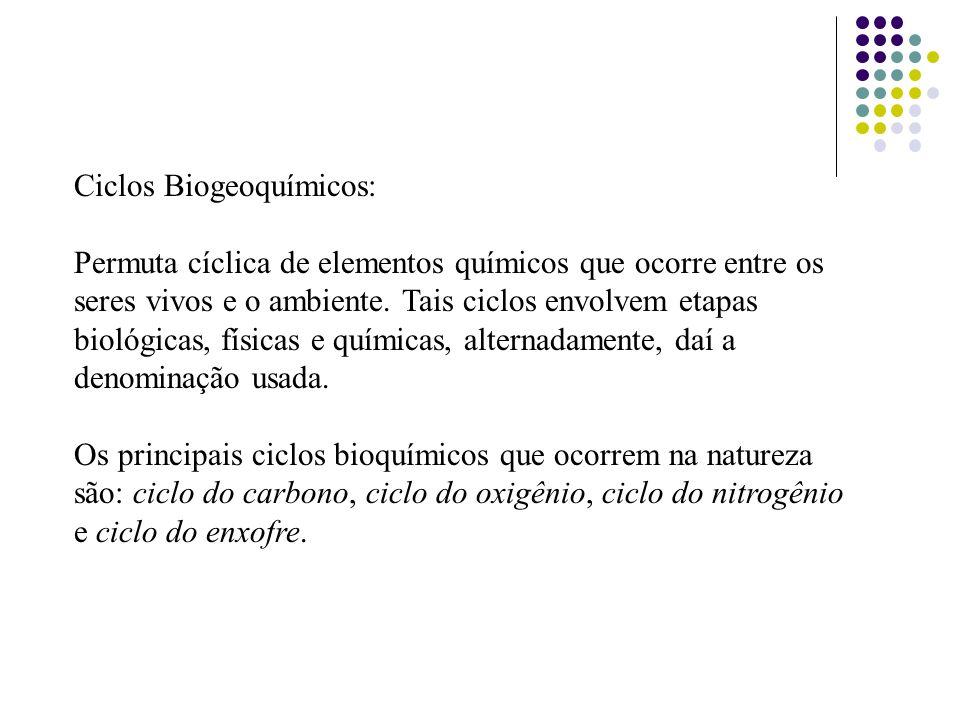 Ciclos Biogeoquímicos: Permuta cíclica de elementos químicos que ocorre entre os seres vivos e o ambiente. Tais ciclos envolvem etapas biológicas, fís