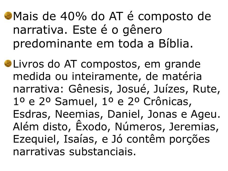 Mais de 40% do AT é composto de narrativa. Este é o gênero predominante em toda a Bíblia. Livros do AT compostos, em grande medida ou inteiramente, de