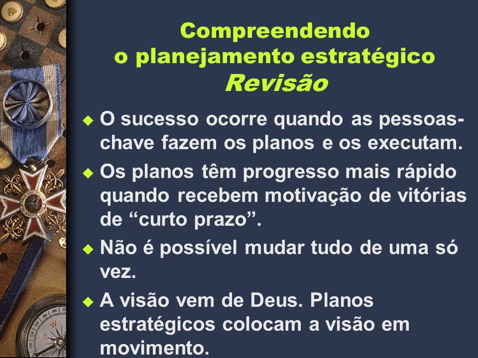 Compreendendo o planejamento estratégico Revisão u O sucesso ocorre quando as pessoas- chave fazem os planos e os executam.