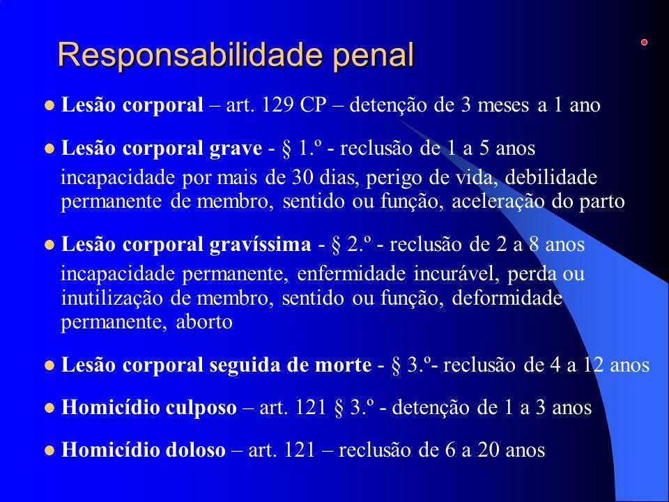 Responsabilidade penal Lesão corporal – art. 129 CP – detenção de 3 meses a 1 ano Lesão corporal grave - § 1.º - reclusão de 1 a 5 anos incapacidade p