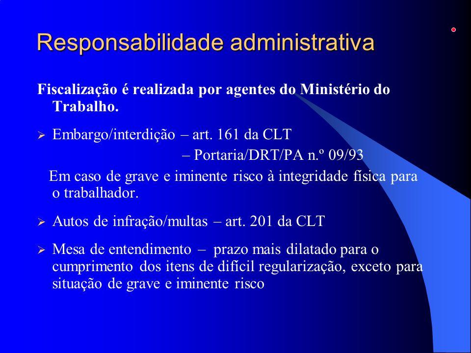 Responsabilidade administrativa Fiscalização é realizada por agentes do Ministério do Trabalho. Embargo/interdição – art. 161 da CLT – Portaria/DRT/PA