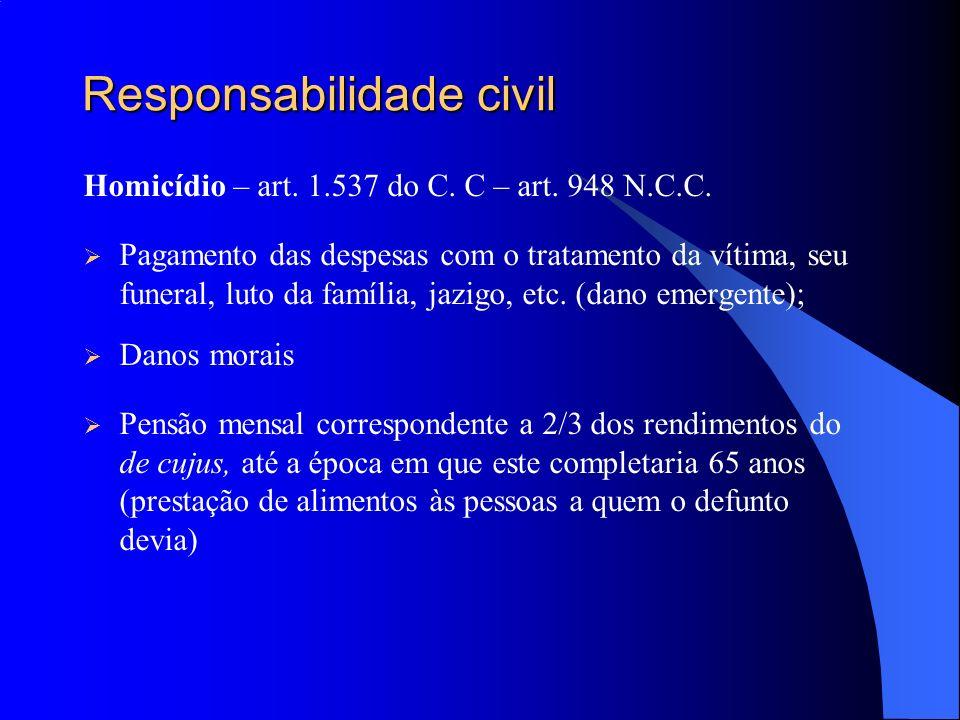 Responsabilidade civil Homicídio – art. 1.537 do C. C – art. 948 N.C.C. Pagamento das despesas com o tratamento da vítima, seu funeral, luto da famíli
