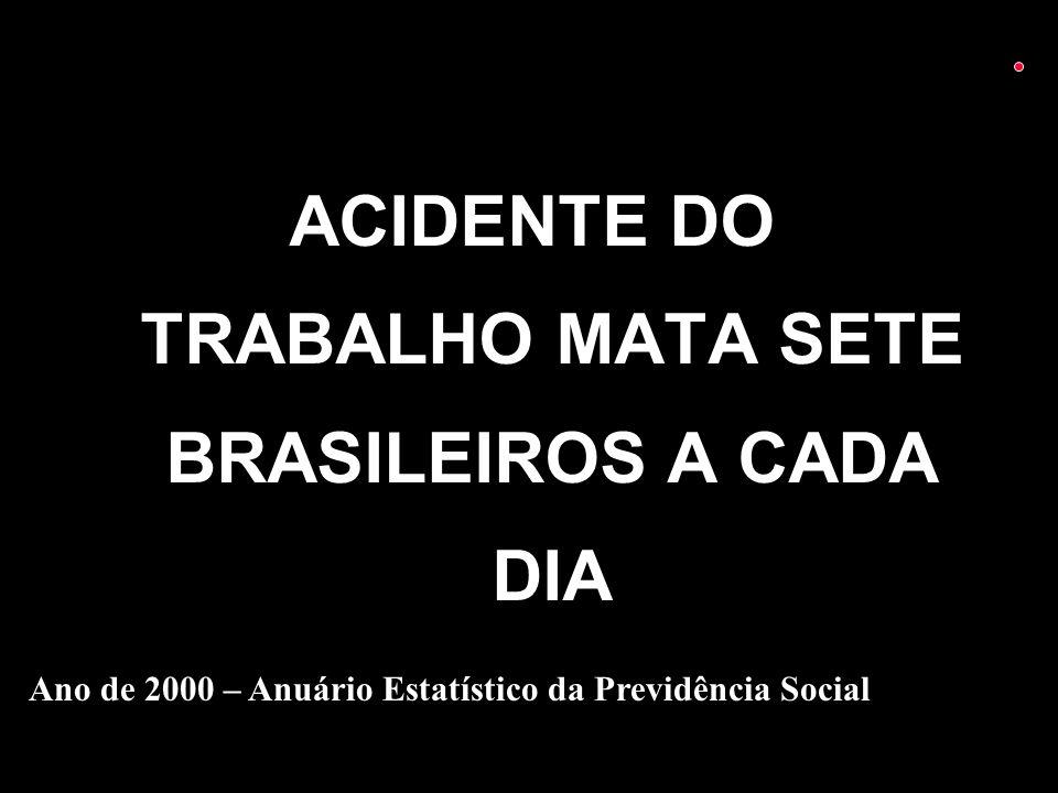 ACIDENTE DO TRABALHO MATA SETE BRASILEIROS A CADA DIA Ano de 2000 – Anuário Estatístico da Previdência Social