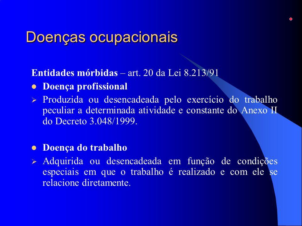 Doenças ocupacionais Entidades mórbidas – art. 20 da Lei 8.213/91 Doença profissional Produzida ou desencadeada pelo exercício do trabalho peculiar a