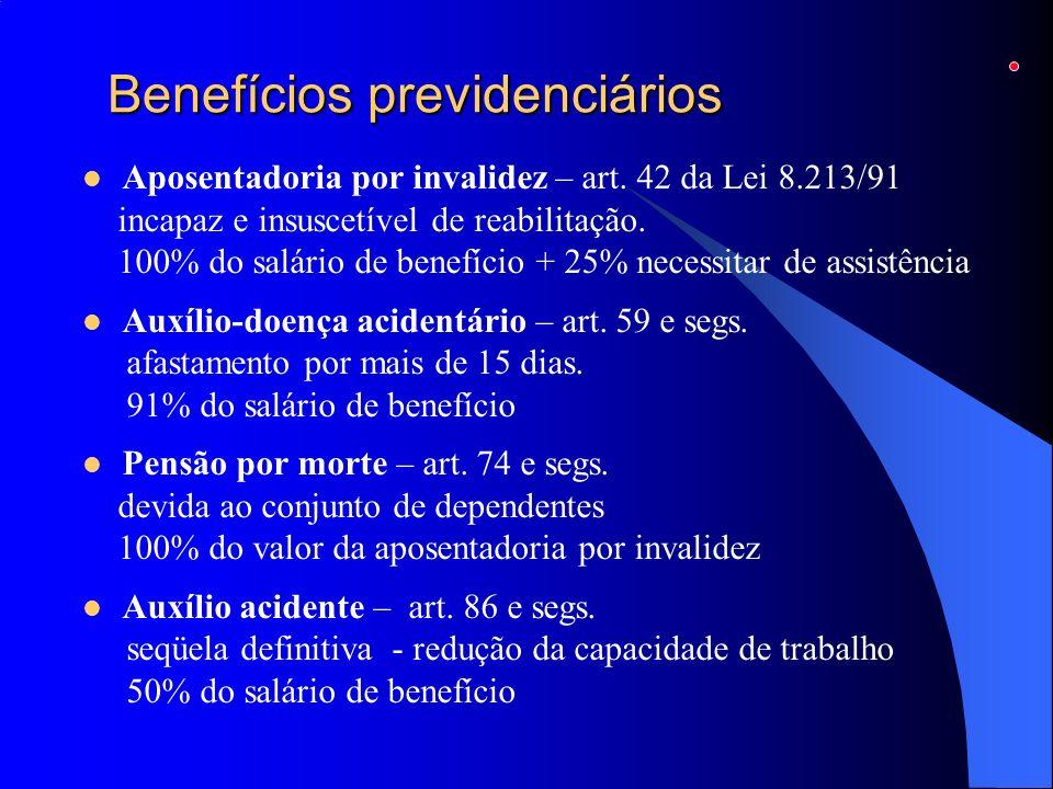 Benefícios previdenciários Aposentadoria por invalidez – art. 42 da Lei 8.213/91 incapaz e insuscetível de reabilitação. 100% do salário de benefício