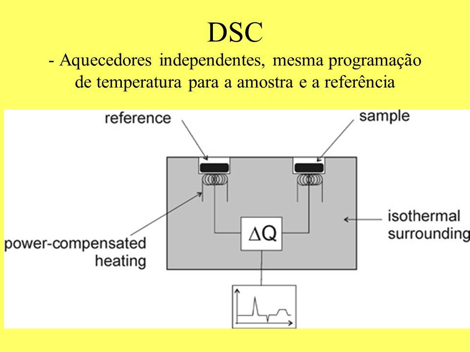DSC - Aquecedores independentes, mesma programação de temperatura para a amostra e a referência