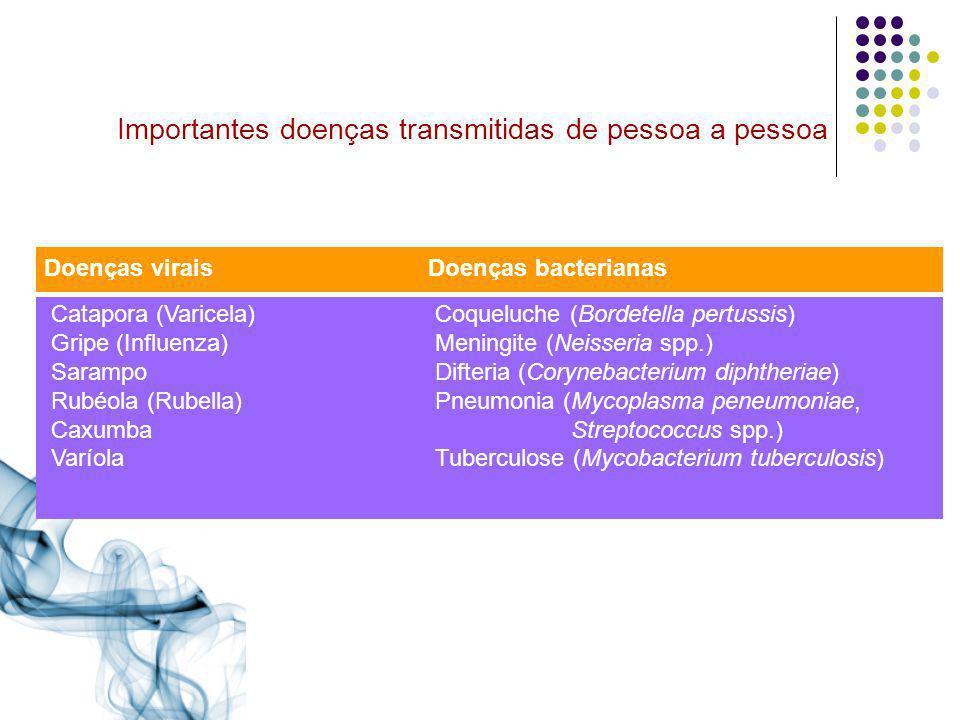 Importantes doenças transmitidas de pessoa a pessoa Doenças viraisDoenças bacterianas Catapora (Varicela)Coqueluche (Bordetella pertussis) Gripe (Infl