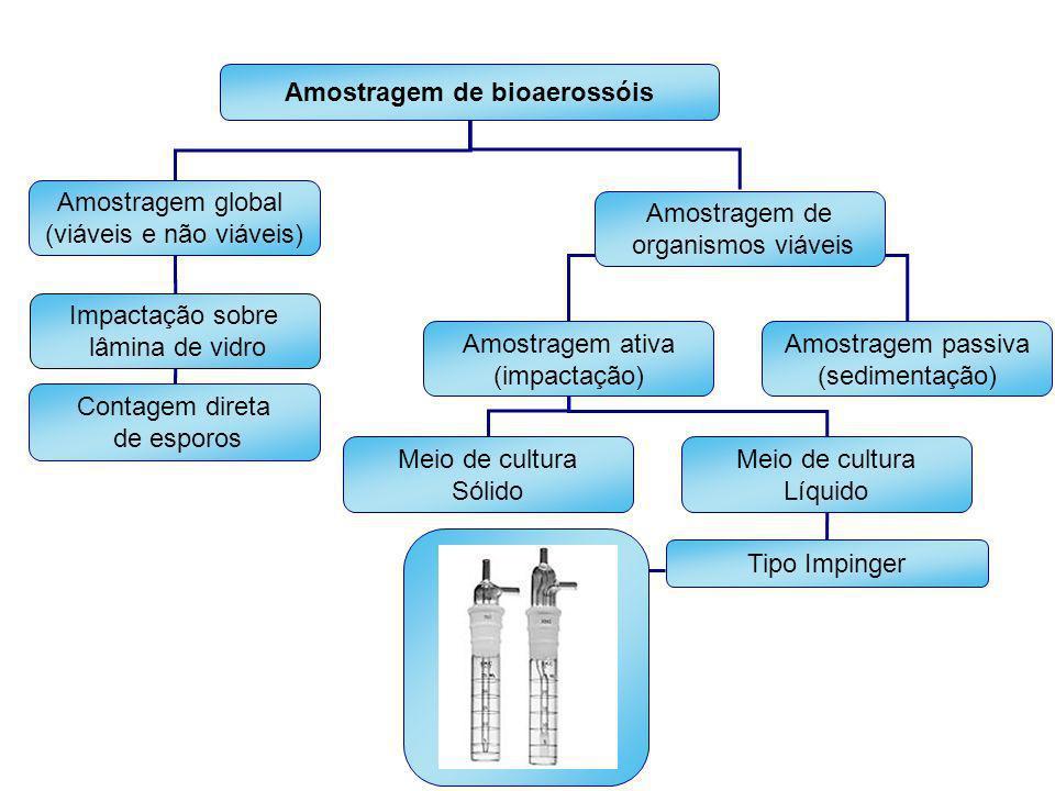 Amostragem de bioaerossóis Amostragem global (viáveis e não viáveis) Amostragem de organismos viáveis Impactação sobre lâmina de vidro Amostragem ativ