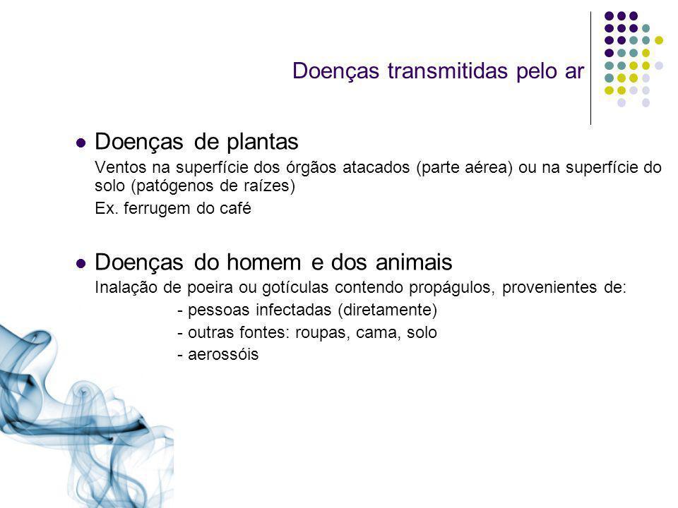 Importantes doenças transmitidas de pessoa a pessoa Doenças viraisDoenças bacterianas Catapora (Varicela)Coqueluche (Bordetella pertussis) Gripe (Influenza)Meningite (Neisseria spp.) SarampoDifteria (Corynebacterium diphtheriae) Rubéola (Rubella)Pneumonia (Mycoplasma peneumoniae, Caxumba Streptococcus spp.) VaríolaTuberculose (Mycobacterium tuberculosis)