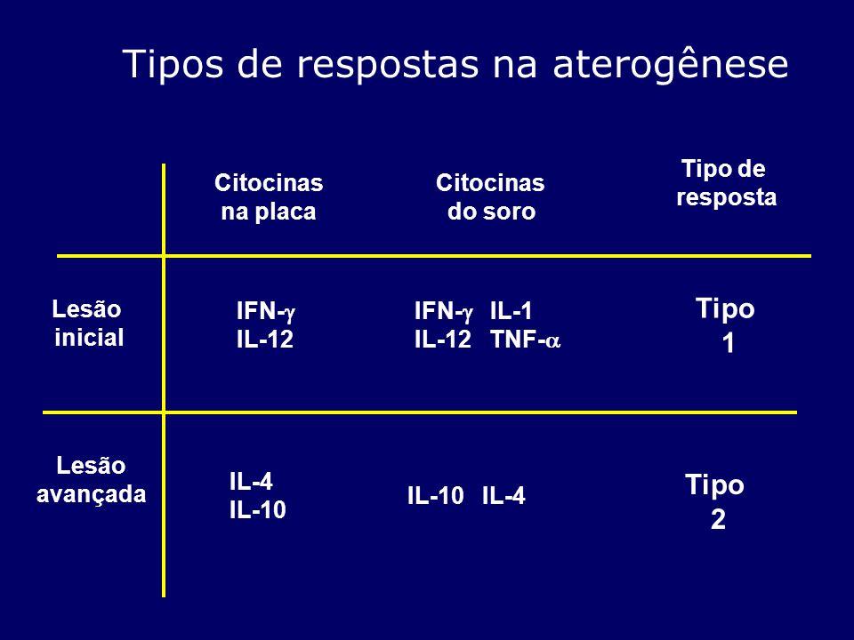 Tipos de respostas na aterogênese Lesão inicial Citocinas na placa IFN- IL-12 Citocinas do soro IFN- IL-1 IL-12 TNF- Tipo de resposta Tipo 1 Lesão ava