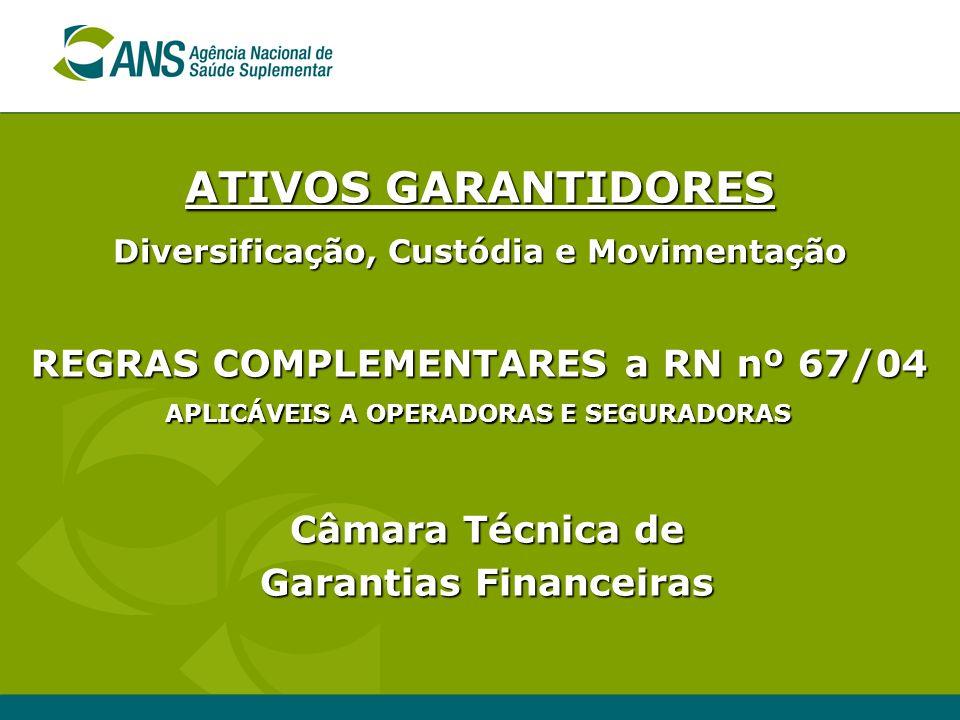 REGRAS COMPLEMENTARES a RN nº 67/04 APLICÁVEIS A OPERADORAS E SEGURADORAS Câmara Técnica de Garantias Financeiras ATIVOS GARANTIDORES Diversificação,