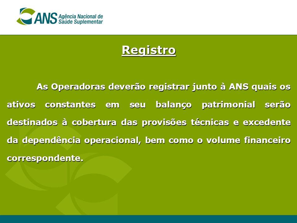 Registro As Operadoras deverão registrar junto à ANS quais os ativos constantes em seu balanço patrimonial serão destinados à cobertura das provisões