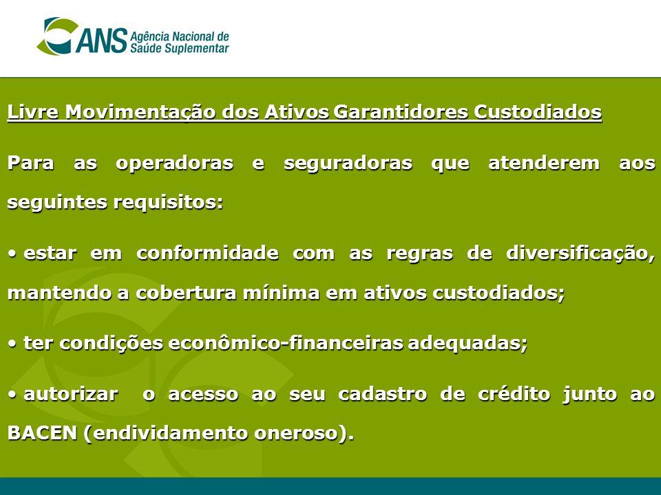Livre Movimentação dos Ativos Garantidores Custodiados Para as operadoras e seguradoras que atenderem aos seguintes requisitos: estar em conformidade