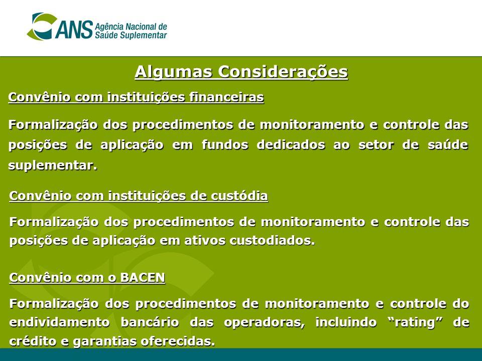 Algumas Considerações Convênio com instituições financeiras Formalização dos procedimentos de monitoramento e controle das posições de aplicação em fu