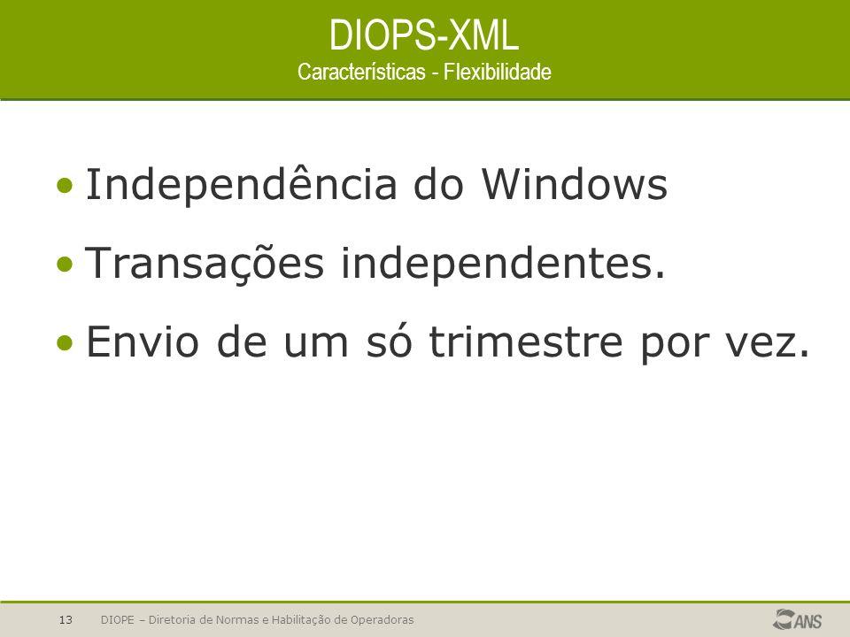 DIOPE – Diretoria de Normas e Habilitação de Operadoras13 DIOPS-XML Características - Flexibilidade Independência do Windows Transações independentes.