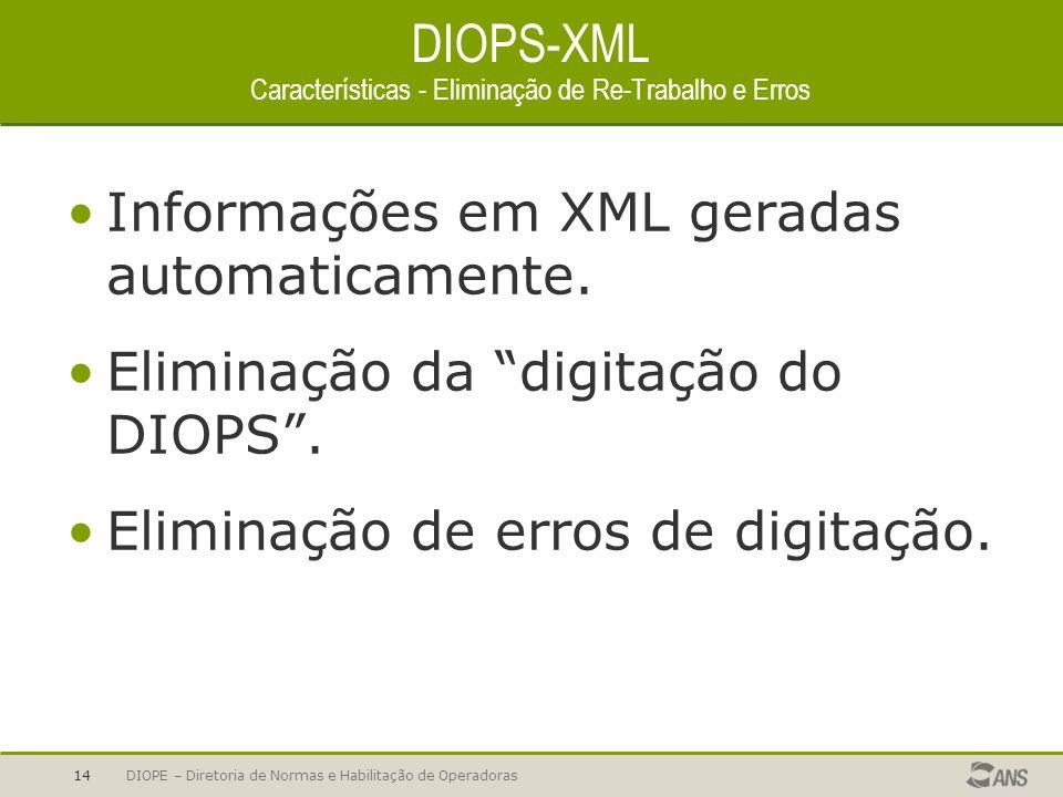 DIOPE – Diretoria de Normas e Habilitação de Operadoras14 DIOPS-XML Características - Eliminação de Re-Trabalho e Erros Informações em XML geradas aut