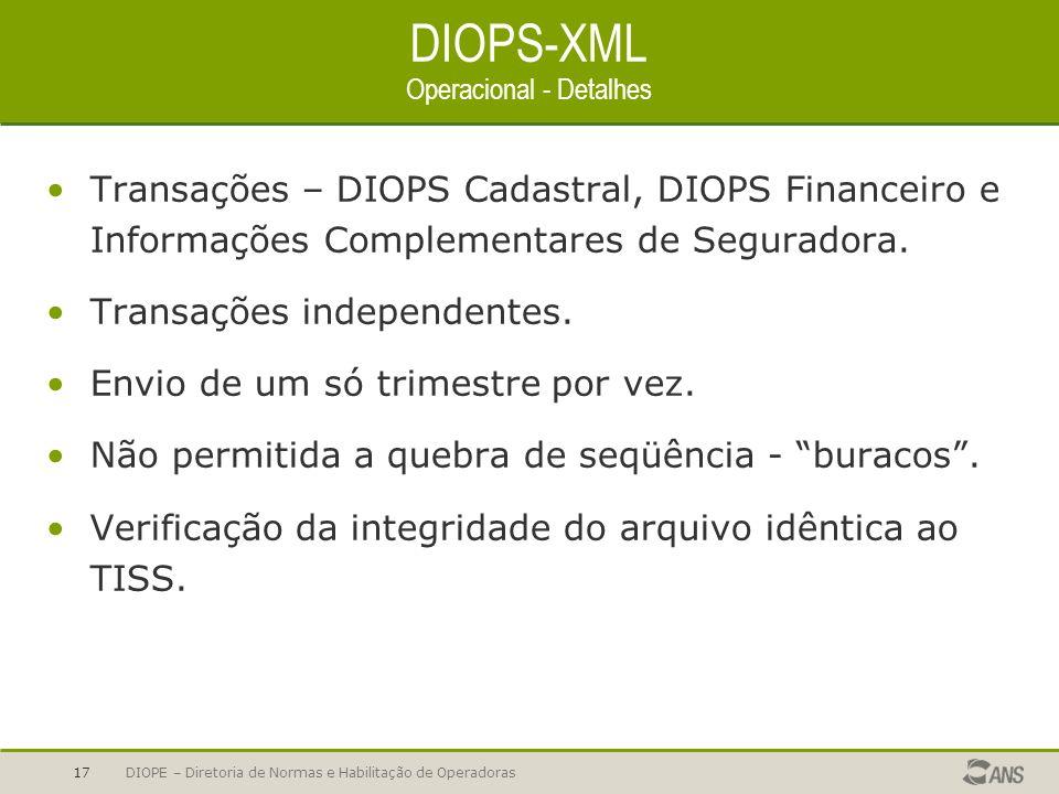 DIOPE – Diretoria de Normas e Habilitação de Operadoras17 DIOPS-XML Operacional - Detalhes Transações – DIOPS Cadastral, DIOPS Financeiro e Informaçõe