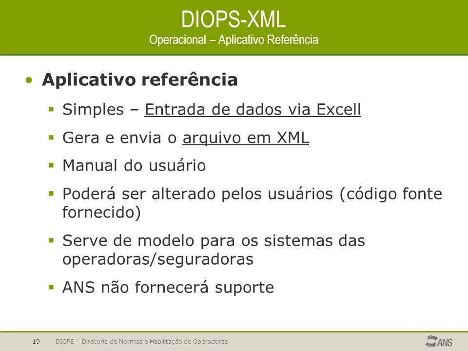 DIOPE – Diretoria de Normas e Habilitação de Operadoras19 DIOPS-XML Operacional – Aplicativo Referência Aplicativo referência Simples – Entrada de dad