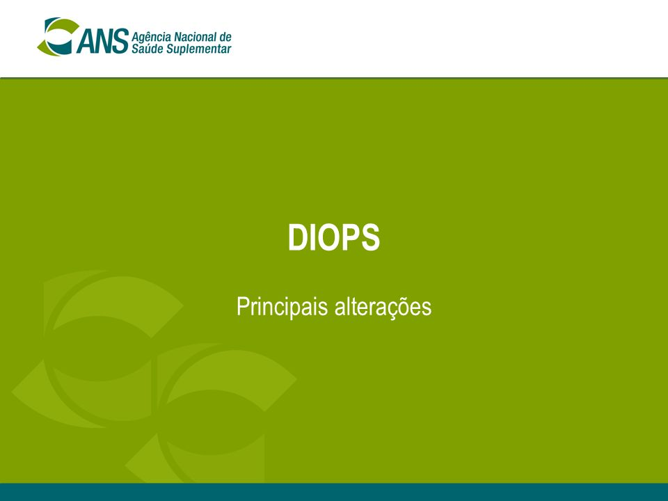 DIOPE – Diretoria de Normas e Habilitação de Operadoras3 Aspectos Relevantes Escrituração / DIOPS A partir de 2007 transmissão pelo formato XML (novo, analítico, já disponível); Transição: É possível manter até 30/06/07 a escrita contábil pelos padrões da RN 27/03; A OPS que optar pela transição, enviará o DIOPS do 1º trim/07 pelo modelo de 2006, adaptado; Em 30/06/07 fará a migração da escrita contábil para o novo plano - IN 9/07; Antes do envio do DIOPS 2º trim/07: retransmitir os dados pertinentes ao 1º trim/07, pelo DIOPS-XML; e após enviar o DIOPS do 2º trim/2007 pelo XML.