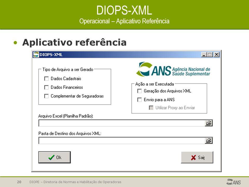 DIOPE – Diretoria de Normas e Habilitação de Operadoras20 DIOPS-XML Operacional – Aplicativo Referência Aplicativo referência