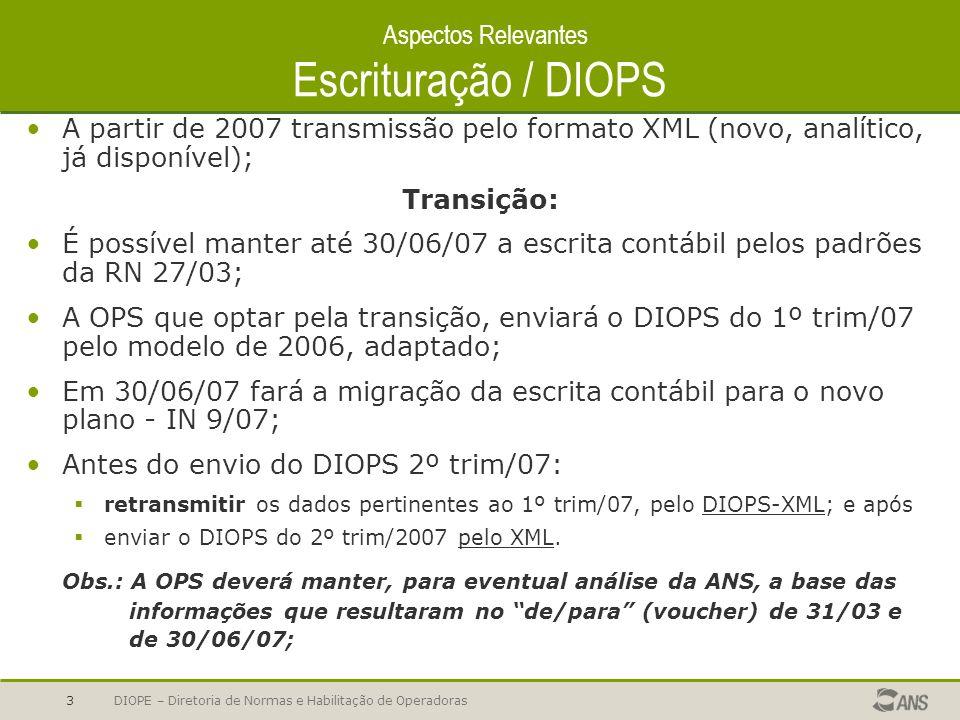 DIOPE – Diretoria de Normas e Habilitação de Operadoras3 Aspectos Relevantes Escrituração / DIOPS A partir de 2007 transmissão pelo formato XML (novo,