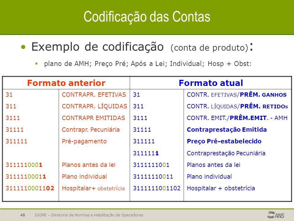 DIOPE – Diretoria de Normas e Habilitação de Operadoras48 Codificação das Contas Exemplo de codificação (conta de produto) : plano de AMH; Preço Pré;