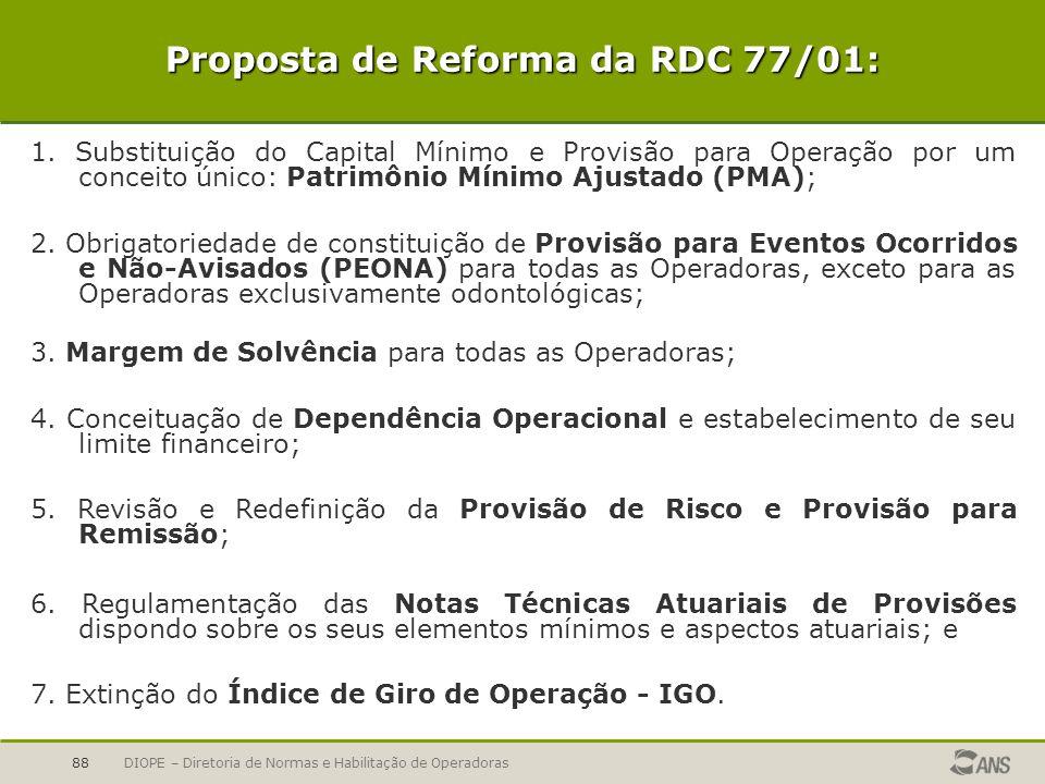 DIOPE – Diretoria de Normas e Habilitação de Operadoras88 Proposta de Reforma da RDC 77/01: 1. Substituição do Capital Mínimo e Provisão para Operação