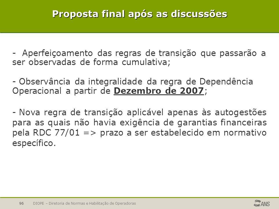 DIOPE – Diretoria de Normas e Habilitação de Operadoras96 Proposta final após as discussões - Aperfeiçoamento das regras de transição que passarão a s