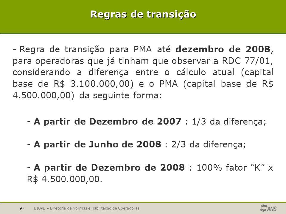 DIOPE – Diretoria de Normas e Habilitação de Operadoras97 Regras de transição - Regra de transição para PMA até dezembro de 2008, para operadoras que