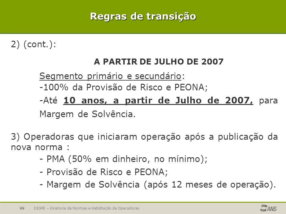 DIOPE – Diretoria de Normas e Habilitação de Operadoras99 2) (cont.): A PARTIR DE JULHO DE 2007 Segmento primário e secundário: -100% da Provisão de R