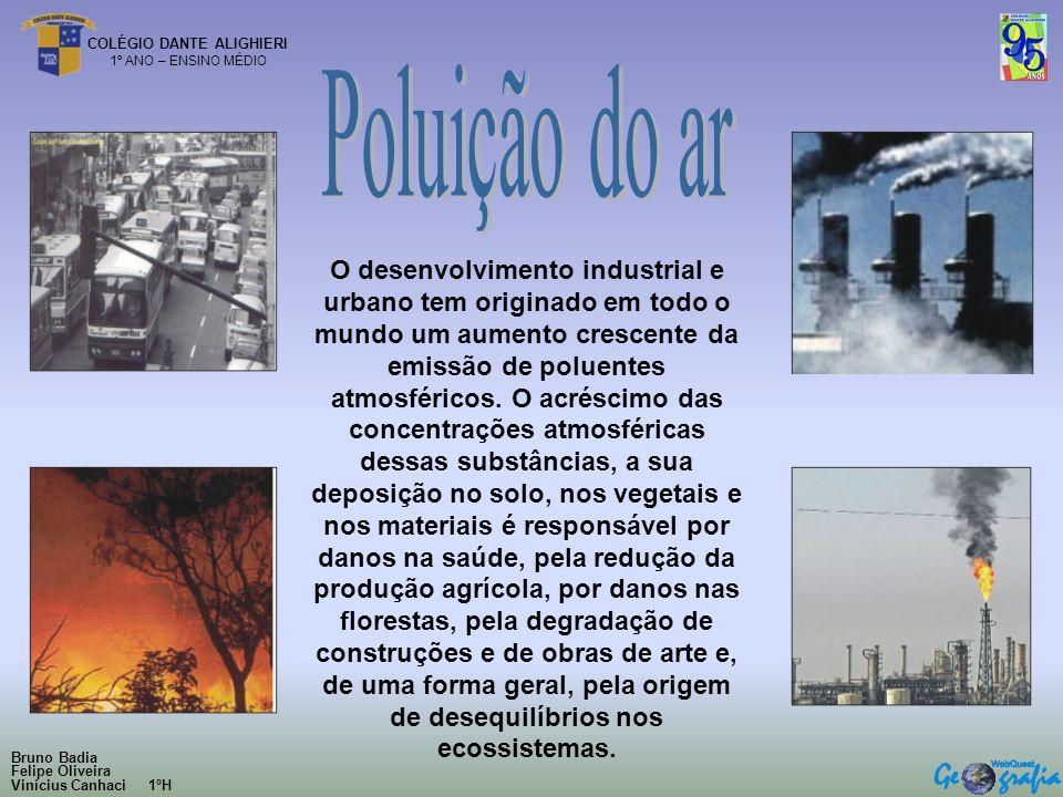 COLÉGIO DANTE ALIGHIERI 1º ANO – ENSINO MÉDIO O desenvolvimento industrial e urbano tem originado em todo o mundo um aumento crescente da emissão de p