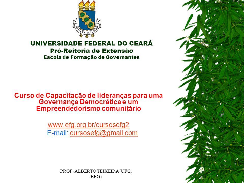 UNIVERSIDADE FEDERAL DO CEARÁ Pró-Reitoria de Extensão Escola de Formação de Governantes Curso de Capacitação de lideranças para uma Governança Democr