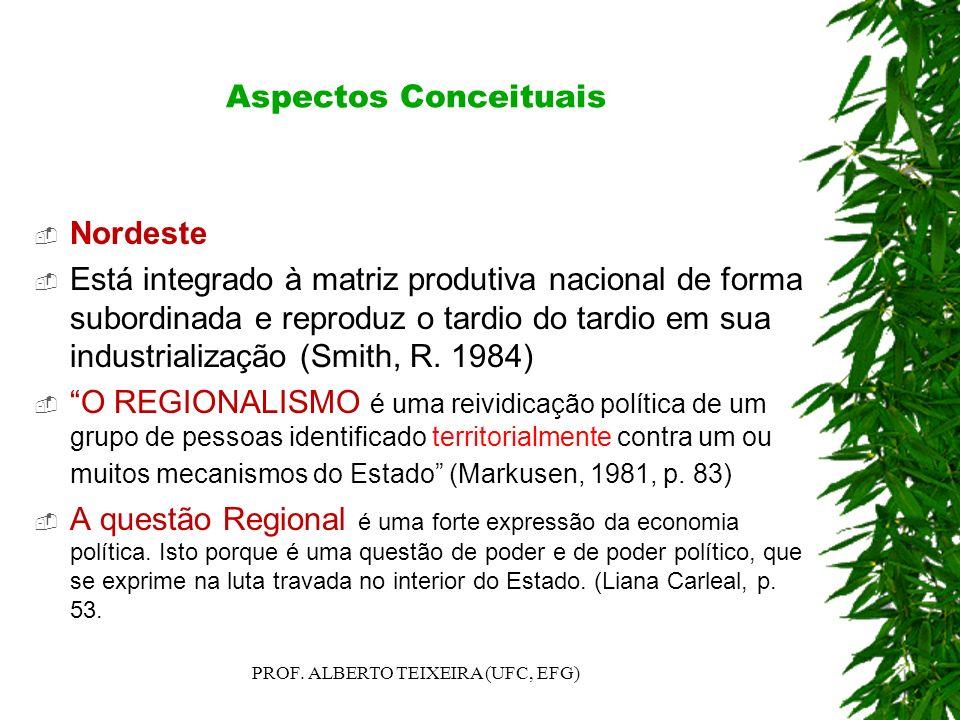 Aspectos Conceituais Nordeste Está integrado à matriz produtiva nacional de forma subordinada e reproduz o tardio do tardio em sua industrialização (S