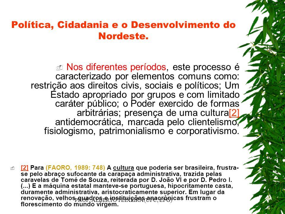 Política, Cidadania e o Desenvolvimento do Nordeste. Nos diferentes períodos, este processo é caracterizado por elementos comuns como: restrição aos d