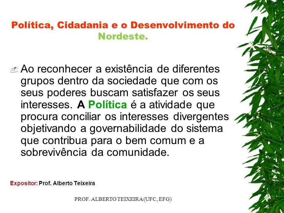 Política, Cidadania e o Desenvolvimento do Nordeste. Ao reconhecer a existência de diferentes grupos dentro da sociedade que com os seus poderes busca