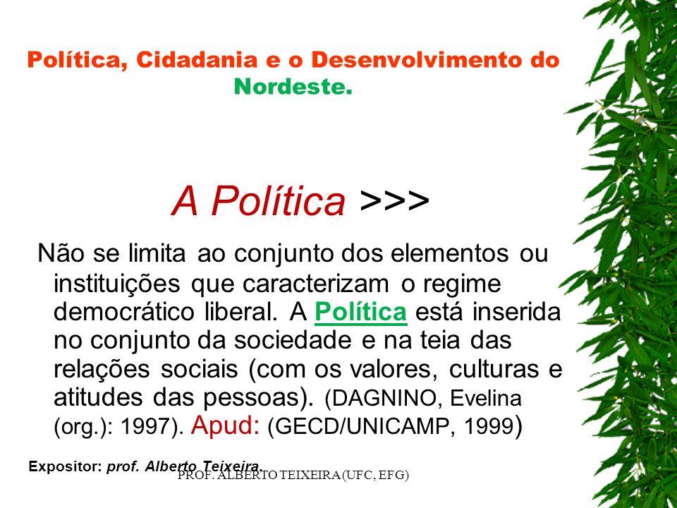 Política, Cidadania e o Desenvolvimento do Nordeste. A Política >>> Não se limita ao conjunto dos elementos ou instituições que caracterizam o regime