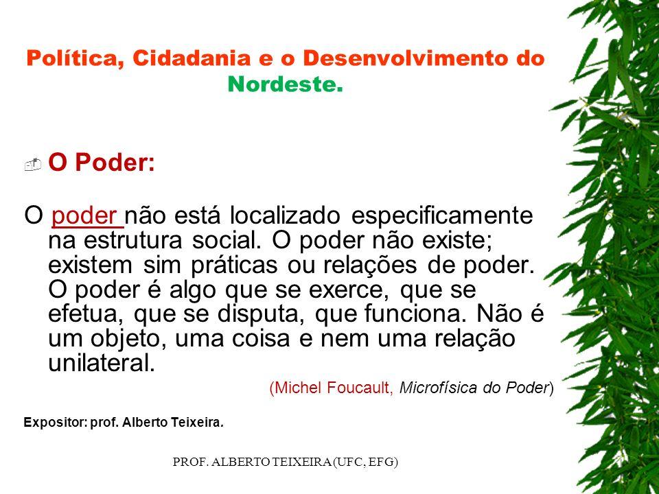 Política, Cidadania e o Desenvolvimento do Nordeste. O Poder: O poder não está localizado especificamente na estrutura social. O poder não existe; exi