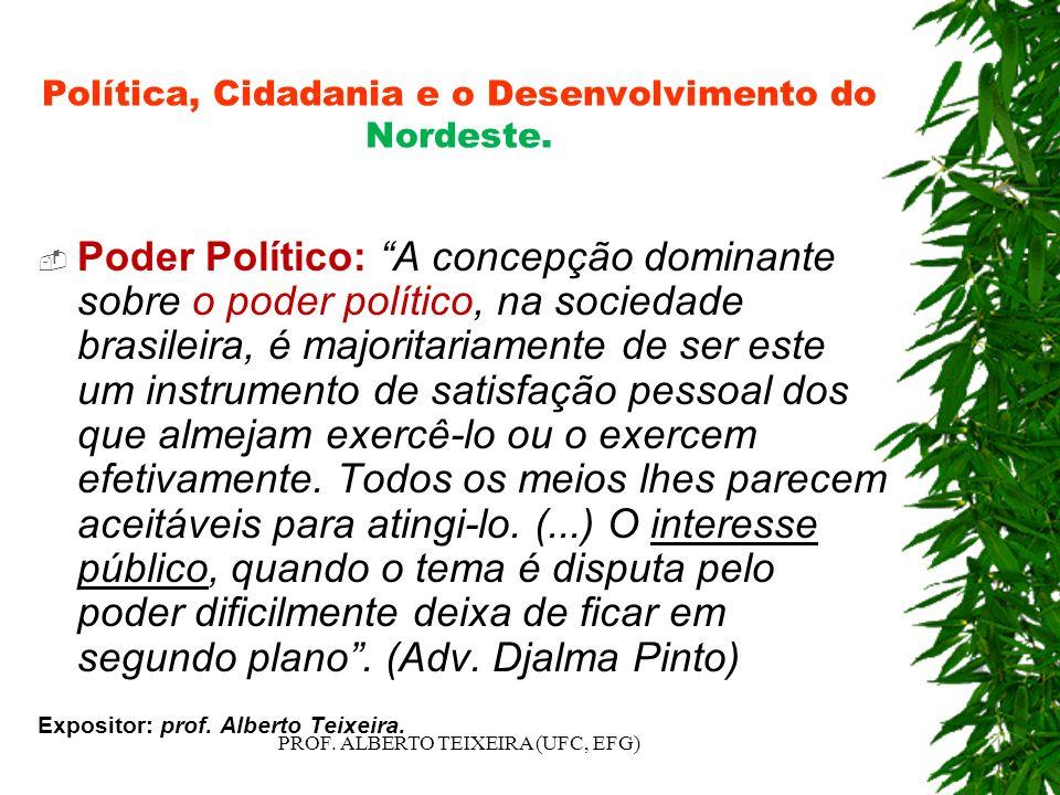 Política, Cidadania e o Desenvolvimento do Nordeste. Poder Político: A concepção dominante sobre o poder político, na sociedade brasileira, é majorita
