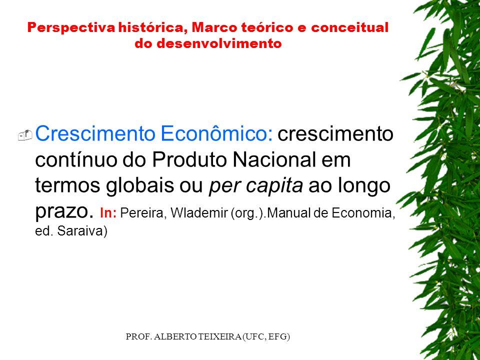 Perspectiva histórica, Marco teórico e conceitual do desenvolvimento Crescimento Econômico: crescimento contínuo do Produto Nacional em termos globais