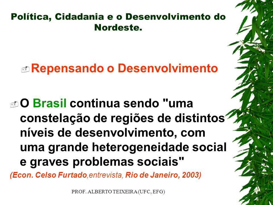 Política, Cidadania e o Desenvolvimento do Nordeste. Repensando o Desenvolvimento O Brasil continua sendo