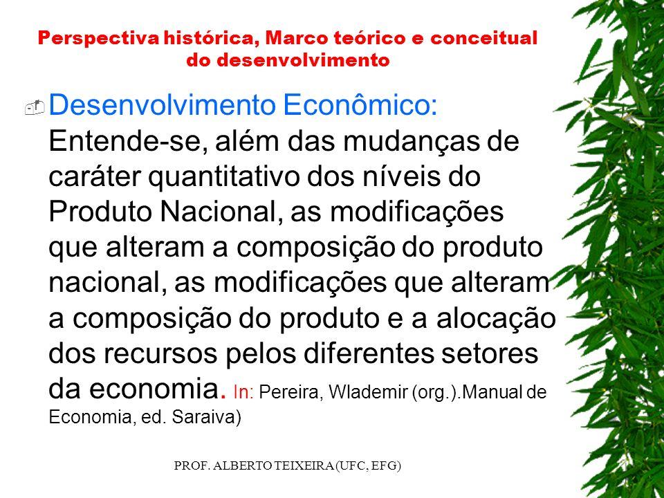 Perspectiva histórica, Marco teórico e conceitual do desenvolvimento Desenvolvimento Econômico: Entende-se, além das mudanças de caráter quantitativo