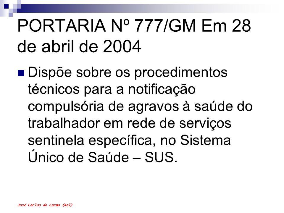 José Carlos do Carmo (Kal) PORTARIA Nº 777/GM Em 28 de abril de 2004 Dispõe sobre os procedimentos técnicos para a notificação compulsória de agravos