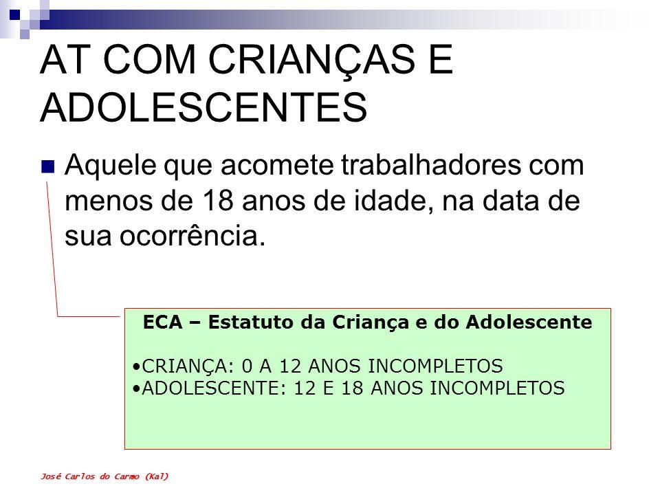 José Carlos do Carmo (Kal) AT COM CRIANÇAS E ADOLESCENTES Aquele que acomete trabalhadores com menos de 18 anos de idade, na data de sua ocorrência. E