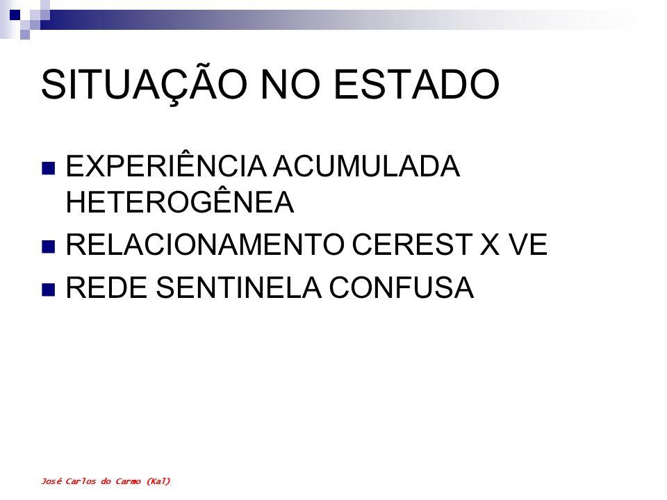 José Carlos do Carmo (Kal) SITUAÇÃO NO ESTADO EXPERIÊNCIA ACUMULADA HETEROGÊNEA RELACIONAMENTO CEREST X VE REDE SENTINELA CONFUSA