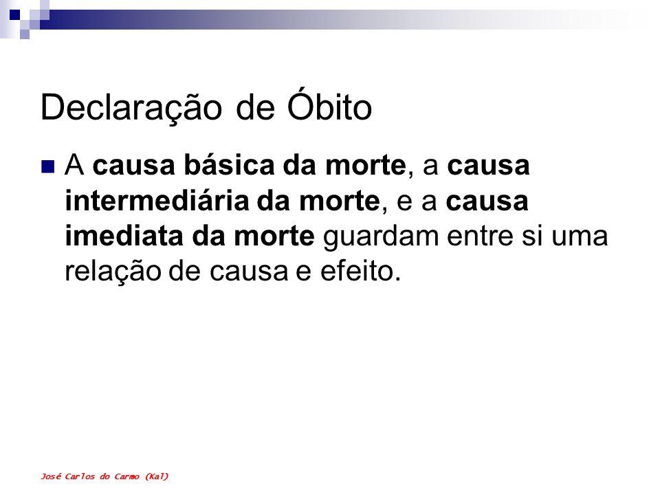 José Carlos do Carmo (Kal) Declaração de Óbito A causa básica da morte, a causa intermediária da morte, e a causa imediata da morte guardam entre si u
