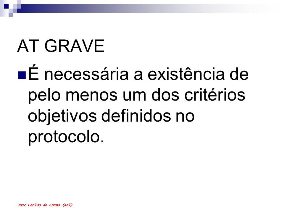 José Carlos do Carmo (Kal) AT GRAVE É necessária a existência de pelo menos um dos critérios objetivos definidos no protocolo.