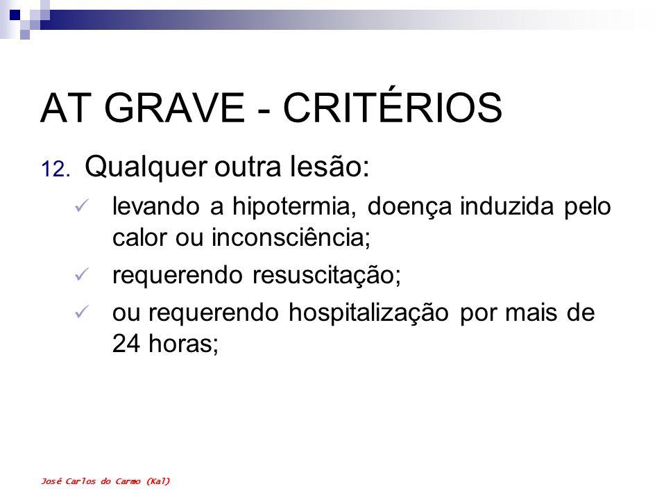 José Carlos do Carmo (Kal) AT GRAVE - CRITÉRIOS 12. Qualquer outra lesão: levando a hipotermia, doença induzida pelo calor ou inconsciência; requerend