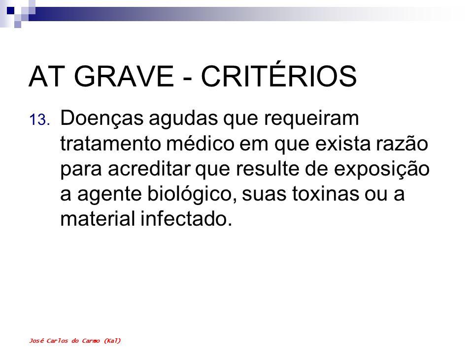 José Carlos do Carmo (Kal) AT GRAVE - CRITÉRIOS 13. Doenças agudas que requeiram tratamento médico em que exista razão para acreditar que resulte de e