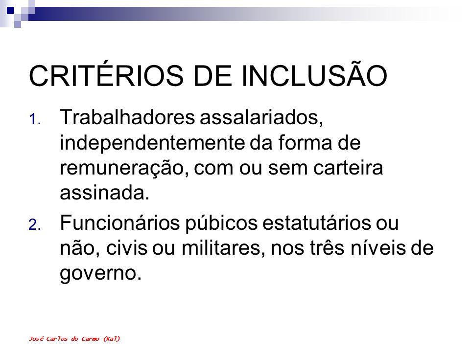 José Carlos do Carmo (Kal) CRITÉRIOS DE INCLUSÃO 1. Trabalhadores assalariados, independentemente da forma de remuneração, com ou sem carteira assinad