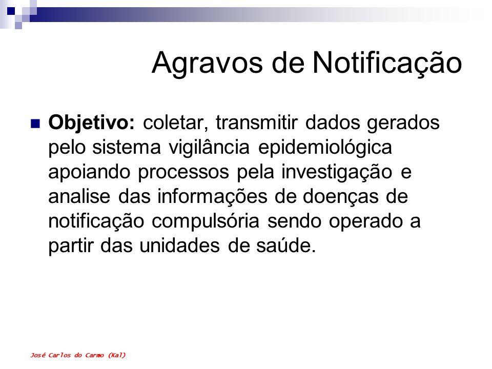 José Carlos do Carmo (Kal) Agravos de Notificação Objetivo: coletar, transmitir dados gerados pelo sistema vigilância epidemiológica apoiando processo